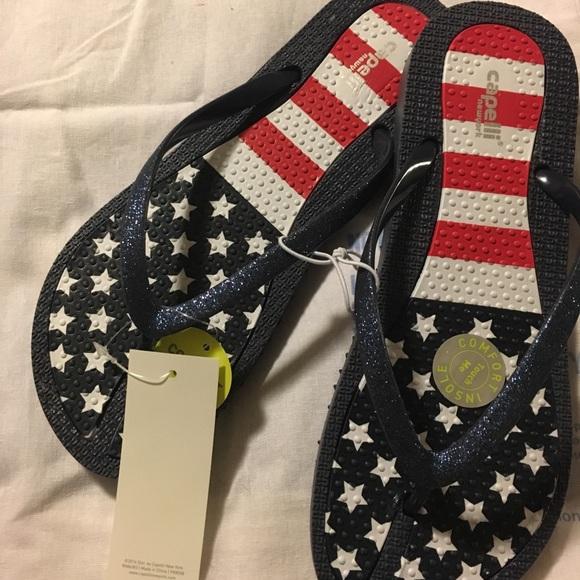 e7d8831b1 Capellini New York Patriotic flip-flops Size 8 NWT